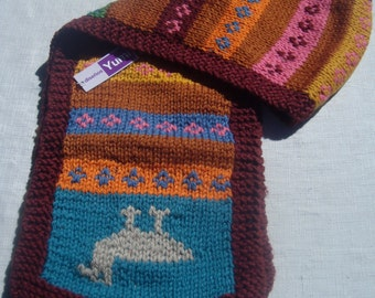 Warm and comfortable, sheep wool blended with alpaca wool, hand woven scarf, multi color, andean, warm, soft.