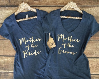 Mother of the Bride Shirt - Mother of the Groom Shirt - Vneck Shirt - Bridesmaid Shirts - Bride Shirt Bachelorette Party Shirts - Bride Gift