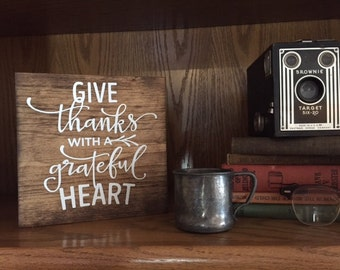 Give Thanks wooden sign // Handmade Sign // Inspirational Sign // Rustic Decor // Give Thanks