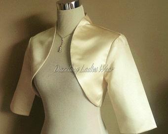 Light Gold / Champagne Satin Bolero Fully Lined - UK 4-26/US 1-22 Shrug/Cropped Jacket/Wrap/Shawl/Stole/Tippet