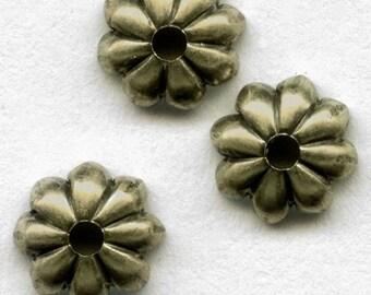 Oxidized brass bead cap petal design 6mm, 6 pcs. b9-2095(e)