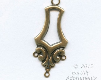 Oxidized brass 1 to 3 ring chandelier stamping 40x16mm 4 pcs. b9-2244(e)