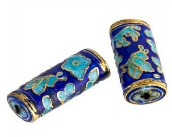 Cobalt, light blue and gold enamel over copper hollow flattened cylinder beads, 29x12mm. Pkg.of 2. b18-561(e)