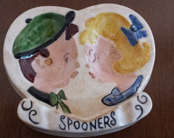 Mid Century Spoon Rest Spooners Boy and Girl Kissing Double Spoon Holder ceramic