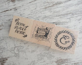 "3 wooden stamps ""home sweet home"""