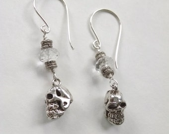 Silver Skull and Crystal Dangle Earrings, Sterling Silver Skull Earrings with Quartz, Emo Gothic Jewelry