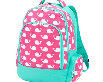 IN STOCK Monogrammed Backpack and Lunchbox, Whales Backpack and Lunchbox