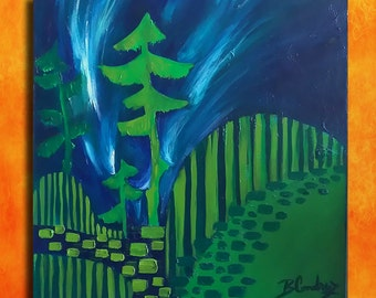 Light in the forest...original painting...great gift...oil on canvas...40x40 cm