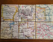 Custom Coasters Map Coasters Set of 4 Four or 6 Six Travertine Natural Stone Tile // Upcycled Recycled Repurposed