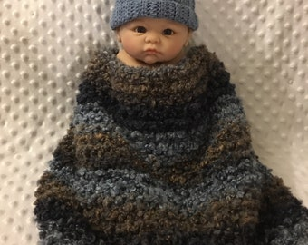 Littlebits Newborn Baby Crocheted Textured Layer Blanket in Blues & Browns with Matching Drawstring Beanie - Handcrafted in Australia RTS