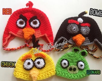 Angry Birds Crochet Hat - Inspired Beanie with Earflaps - Kids and Adults Hats - Yellow, Green, Red, and Black Beanie