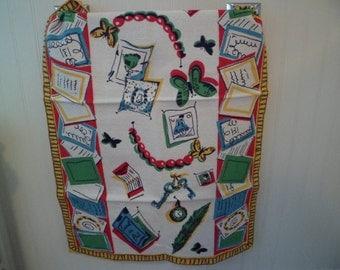 Vintage Mid Century Kitchen Tea Dish Towel Table Runner~Bark Cloth Textured~Wilendure?