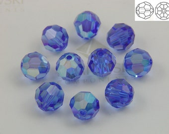 Swarovski #5000 Crystal Sapphire Blue AB Round Ball Faceted Beads 5mm 6mm 8mm