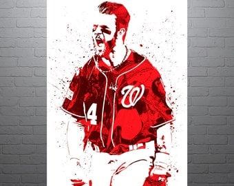 Bryce Harper Washington Nationals, Sports Art Print, Baseball Poster, Kids Decor, Watercolor Contemporary Abstract Drawing Print, Man Cave