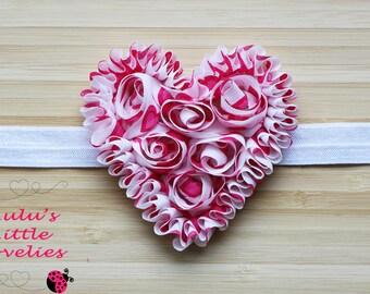Valentines Heart Headband,  Rosette Heart Headband, Valentines Headband, Newborn - Adult Photoshoot Valentines