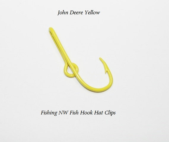 John deere yellow colored fish hook hat clip pin by for Fishing hook hat clip