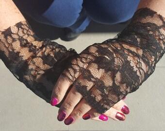 Fingerless Lace Gloves - Handmade (Black or Purple)