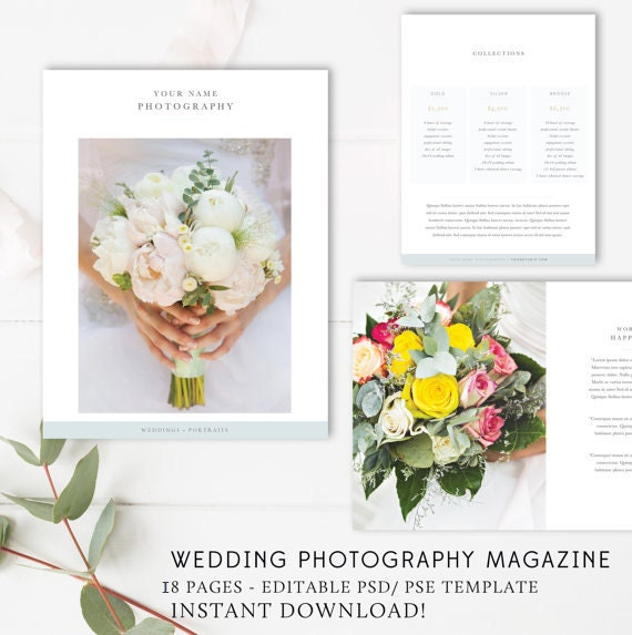 Wedding photographer magazine template wedding price list for Wedding photography magazine template