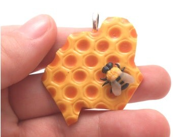 READY TO SHIP: Handmade miniature honeybee, honeycomb made out polymer clay (all my jewelry is nickel free!)