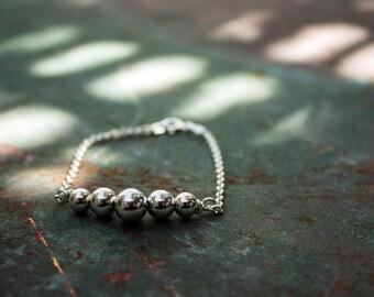 Sterling Silver Bead Bracelet - Silver Bead Bracelet - gift for her - One of a kind bracelet - OOAK