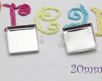 20mm Silver Square Trays - Silver Deep Square Setting - Pendant Settings - Silver Square Pendant Trays B023