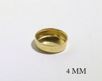 14k Gold Filled Round 4 mm Bezel Cups