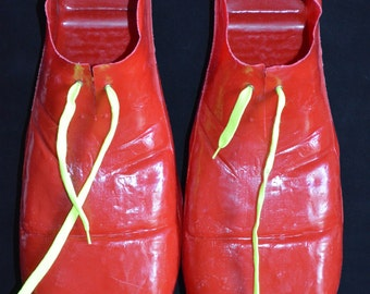 Vintage Large Novelty Red Clown Shoes (Size: Adult)