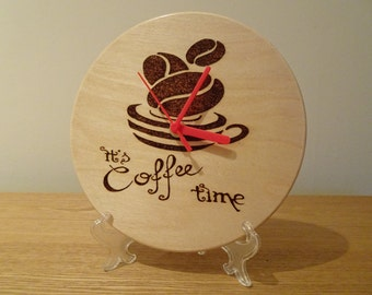 It's coffee time hand engraved wooden clock