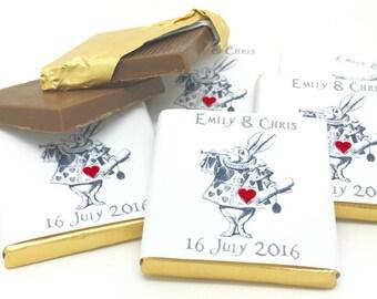 Alice in Wonderland Personalised Wedding Favours, Personalized Chocolate Wedding Favors, Personalized Favors, 50/100/150, Wedding Gift