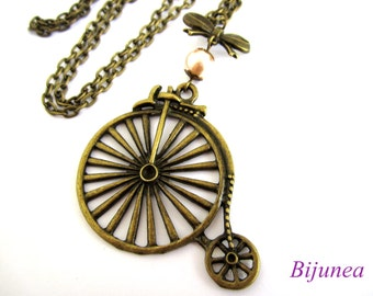 Bike map necklace - Antique bicycle necklace - Pearl bike necklace - Bike long nekclace n537