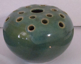 Vintage 1937-1939 W.J. Gordy Art Pottery Blue Green Glaze Flower Frog Vase