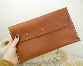35% OFF/ Leather Envelope Clutch / Leather Envelope / Leather Handbag / Leather Clutch / Envelope Purse / Clutch Purse