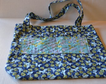 Double-Sided Blue Quilted Tote