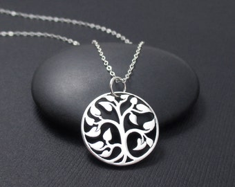 Tree Of Life Necklace Sterling Silver, Medium Tree of Life Charm Pendant Necklace, Tree of Life Jewelry, Tree Pendant, Silver Tree of Life