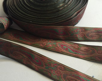 French Paisley Jacquard Ribbon, Green Background with Red, Brown and Green Paisley Design, 7/8 inches wide