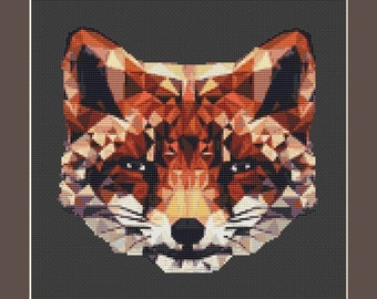 Geometric Foxy Counted Cross Stitch Pattern (8.29 x 8 in or 21.05 x 20.32 cm) download printable PDF file (4009)