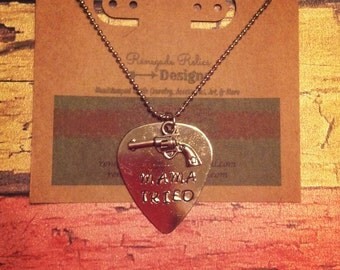"Hand stamped Aluminum Guitar Pick Pendant Necklace Merle Haggard ""Mama Tried"""