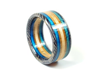 Handmade Black and Blue Recycled Skateboard Ring Free Shipping