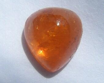 Mandarin Garnet Loose Gemstone Brilliant Orange Genuine Mandarin Spessartite Garnet 5 carat Pear shaped Cabochon Genuine Loose Gemstone