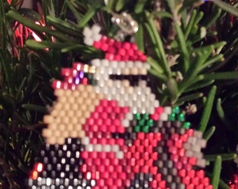 Biker Santa Hand Beaded Earrings
