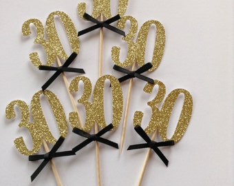 12 x Gold 30th Cupcake Toppers with Black Bows, 30th Birthday Cake Toppers, 30th Birthday Party