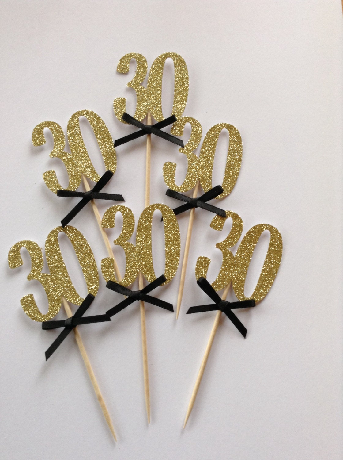 Gold 30th Cupcake Toppers With Black Bows 30th Birthday Cake