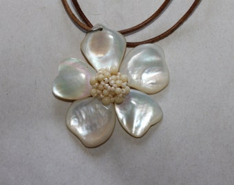 Flower Made of Pearl Like Material With Tiny Beads in The Middle, Very Well Put Together, Amazing Pendant Necklace, Could Put it on Anything