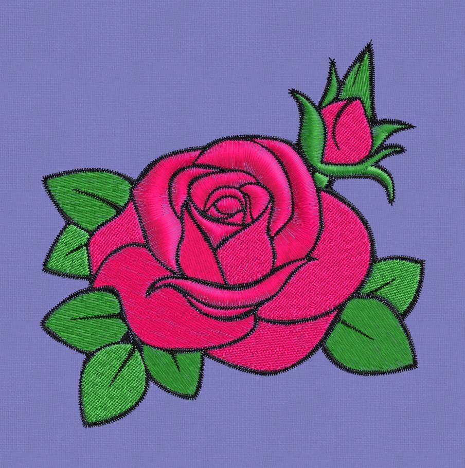 Embroidery Design Rose Flower 4x4 Pes Hus Jef Vip Vp3 Dst Exp
