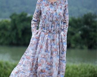 Linen maxi print belted dress BonLife