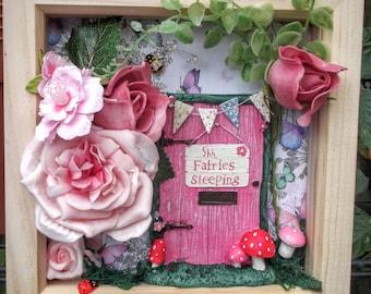 Fairy Frame, Fairy Garden Scene Box Frame, Fairy Door Frame, Fairy Wall Art