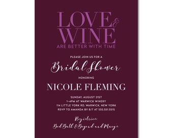Bridal Shower 5x7 Invitation - Love & Wine - Vineyard Winery Wedding - Printable and Personalized