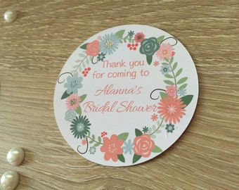 Bridal Shower Stickers, Whimsical Chic Flower bridal shower stickers, Personalized, Party favor stickers, Whimsical Chic bridal shower