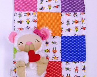 Robot Patchwork Modern Quilt, Snuggle Quilt, Snuggle Blanket,  Modern Blanket, Baby Bedding, Robot Toddler Bedding, Baby Shower Gift