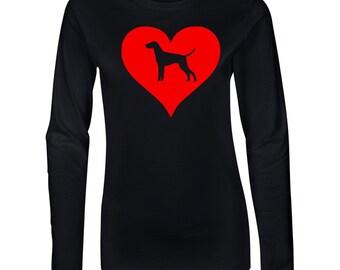 Vizsla Love Heart Junior Long Sleeve T-Shirt. Juniors Long Sleeve T-Shirt. Dog Lover Shirt.  64400L